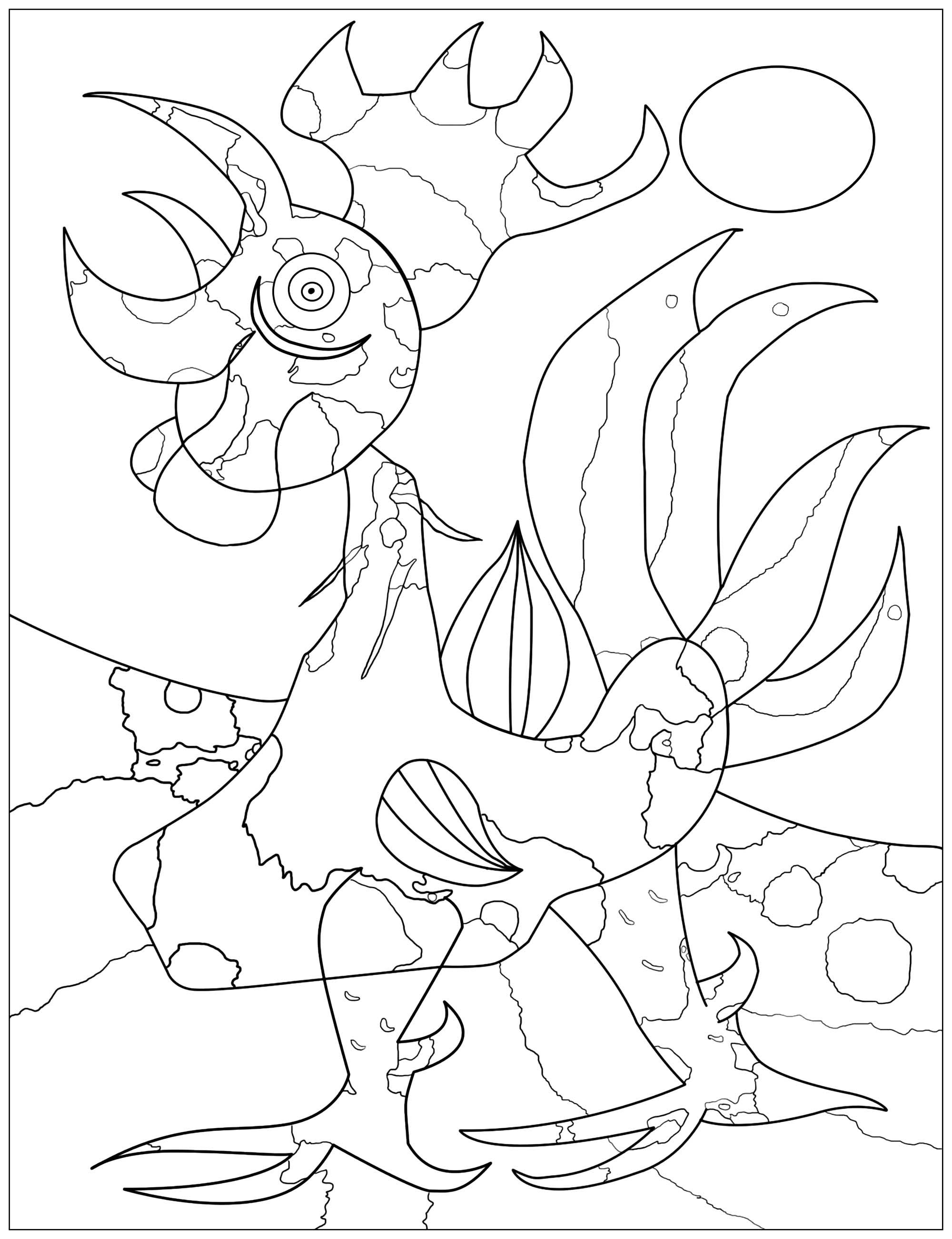 Coloring page inspired by a Joan Miró painting : Le coq (The rooster) (1940)