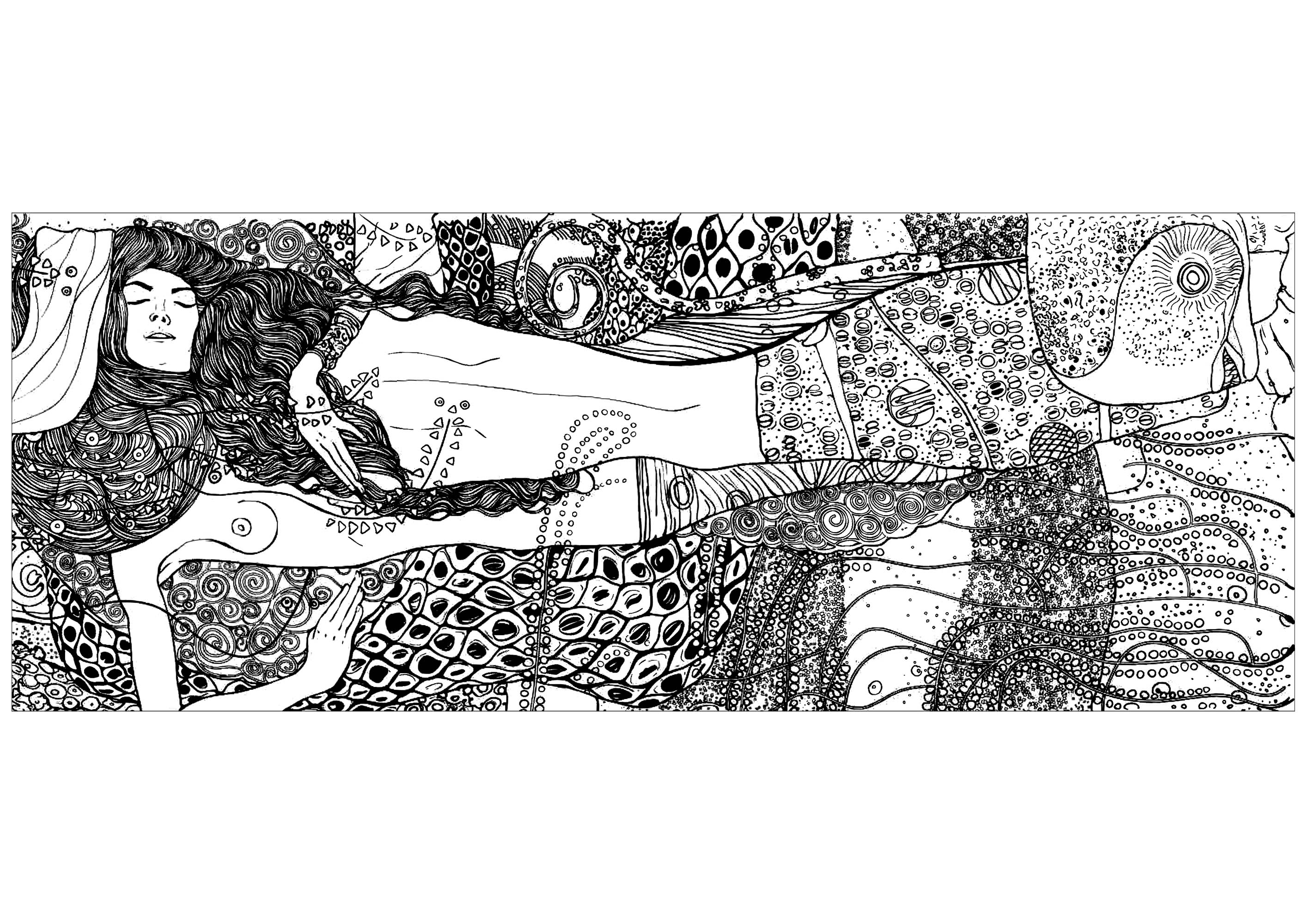 Coloring page created from the painting 'Water serpents I' by Gustav Klimt