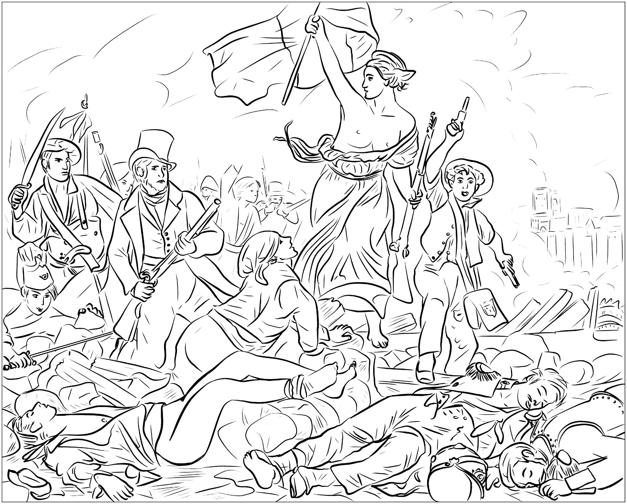 Coloring page created from the famous painting commemorating the July Revolution of 1830 in France, by Eugène Delacroix : Liberty Leading the People