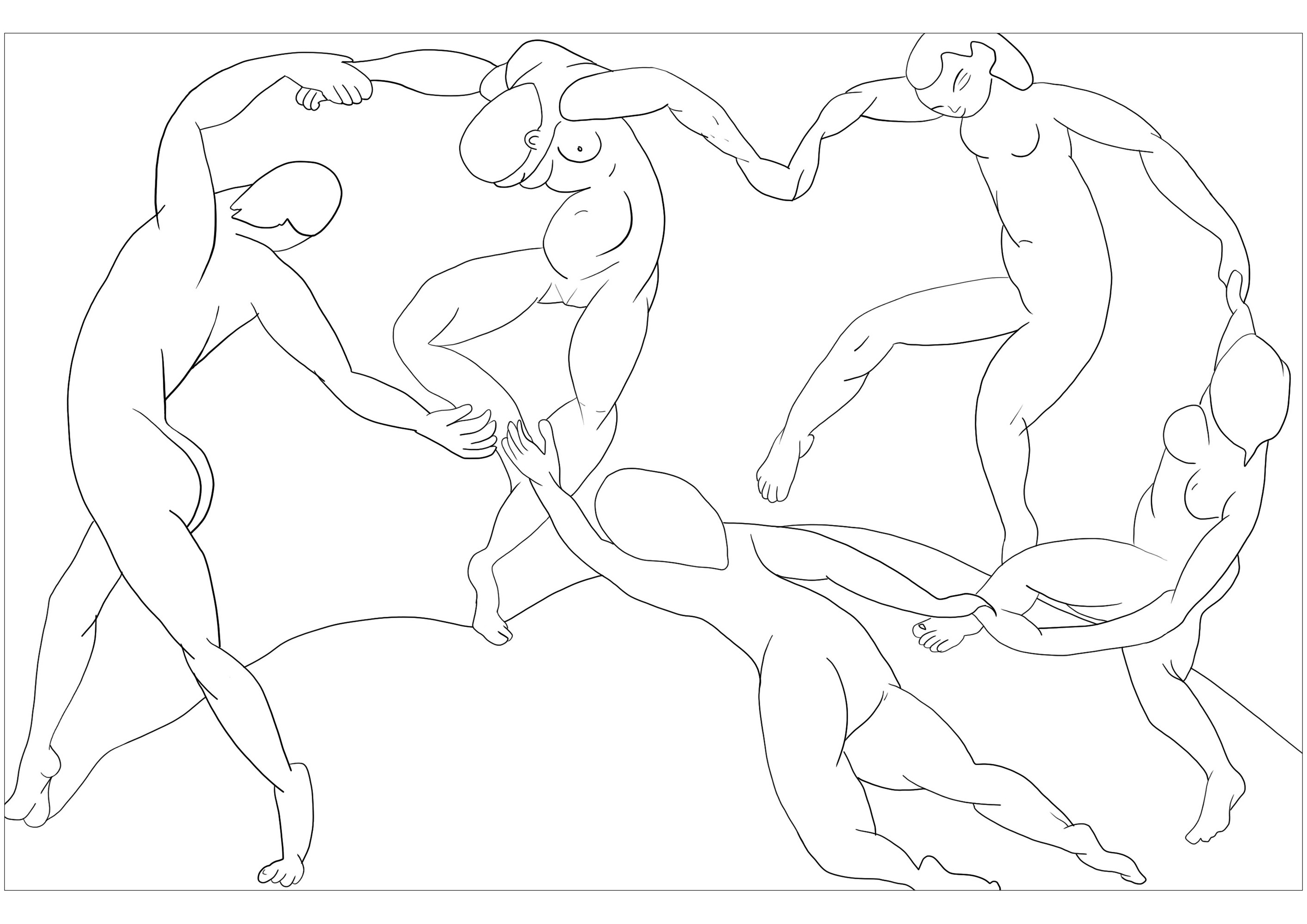 Coloring page created from The Dance by Henri Matisse (1909-1910)