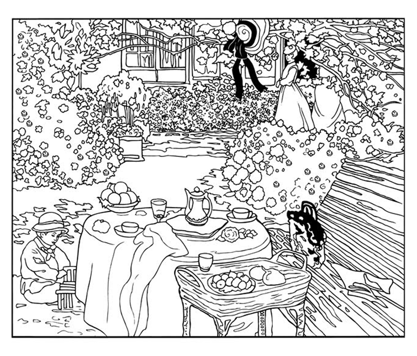 Coloring page created from The luncheon, by Monet