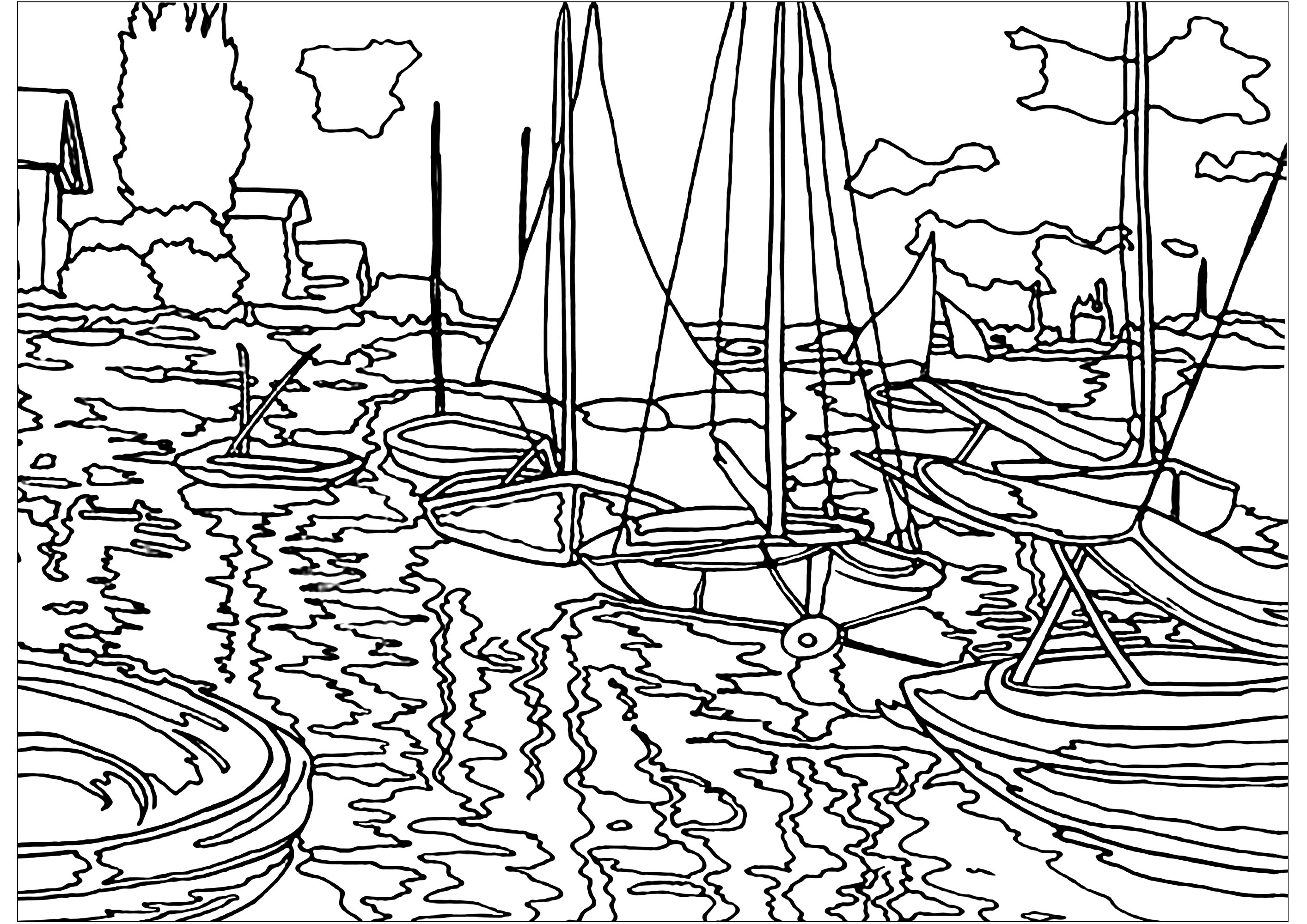 Drawing to color created from a painting by Impressionist artist Claude Monet : Sailboats on the Seine at Petit - Gennevilliers
