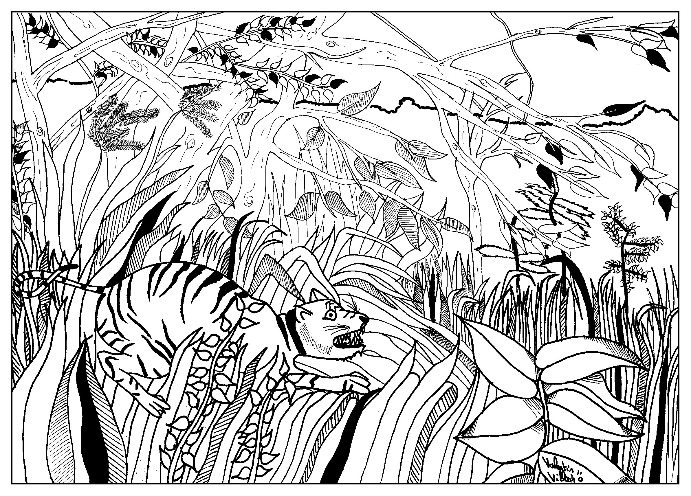 Coloring page inspired by 'Surpris !' by French artist Henri Rousseau