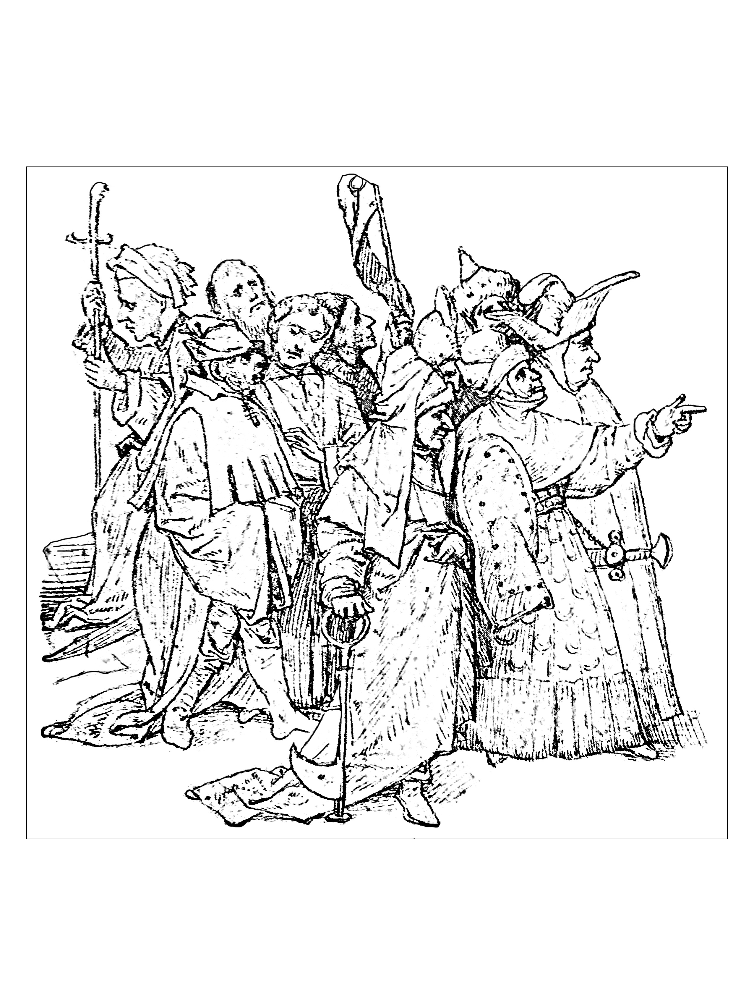 Coloring page created from a 1516 drawing by Jérome Bosch (flemish painter : 1450 - 1516)