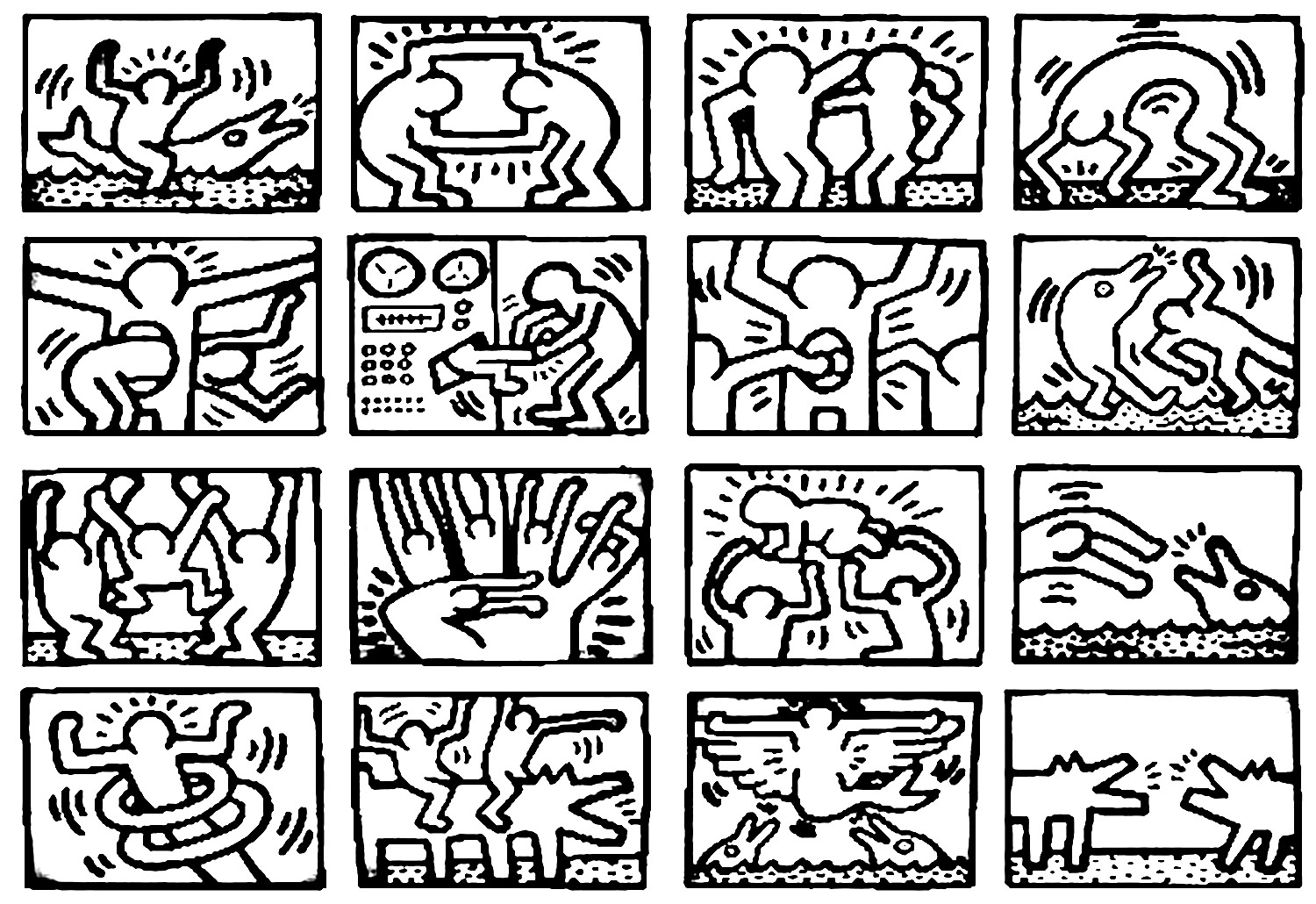 pop art keith haring master pieces coloring pages for adults