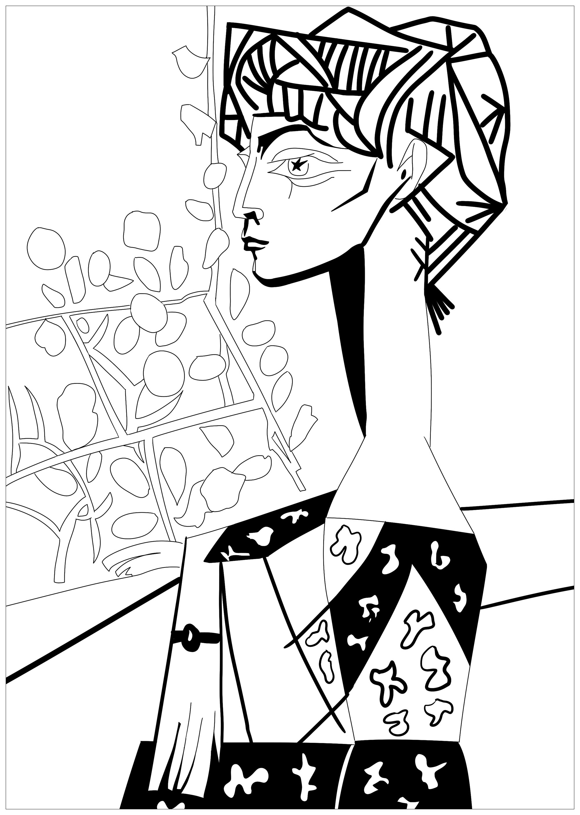 Coloring page inspired by a master piece by Pablo Picasso : Jacqueline with Flowers