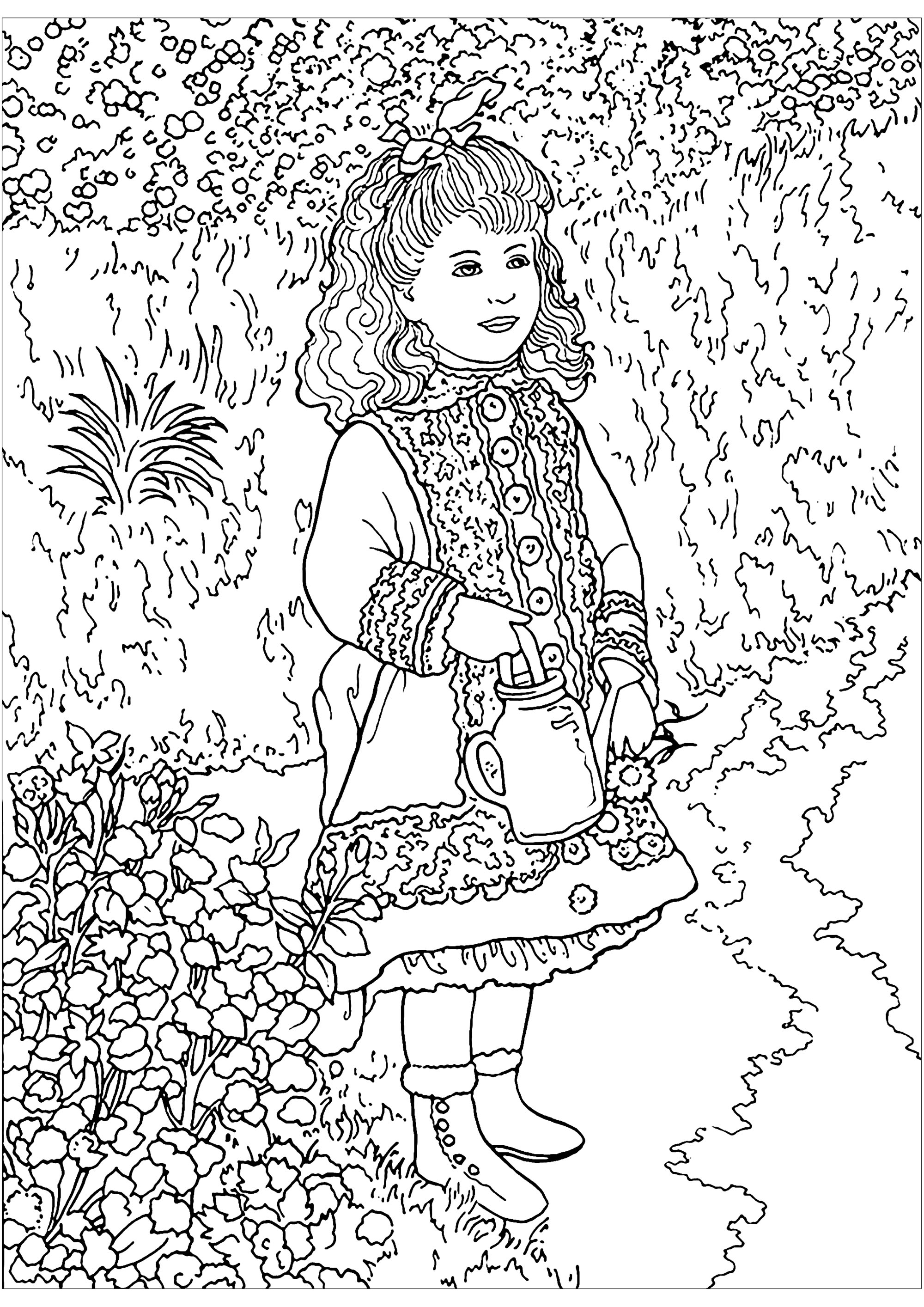 Coloring page inspired by a masterpiece by Impressionist painter Pierre-Auguste Renoir : A Girl with a Watering Can - Image with : Pierre-Auguste Renoir, Impressionism