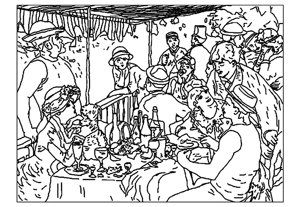 Luncheon of the Boating Party, - Masterpieces Adult Coloring Pages