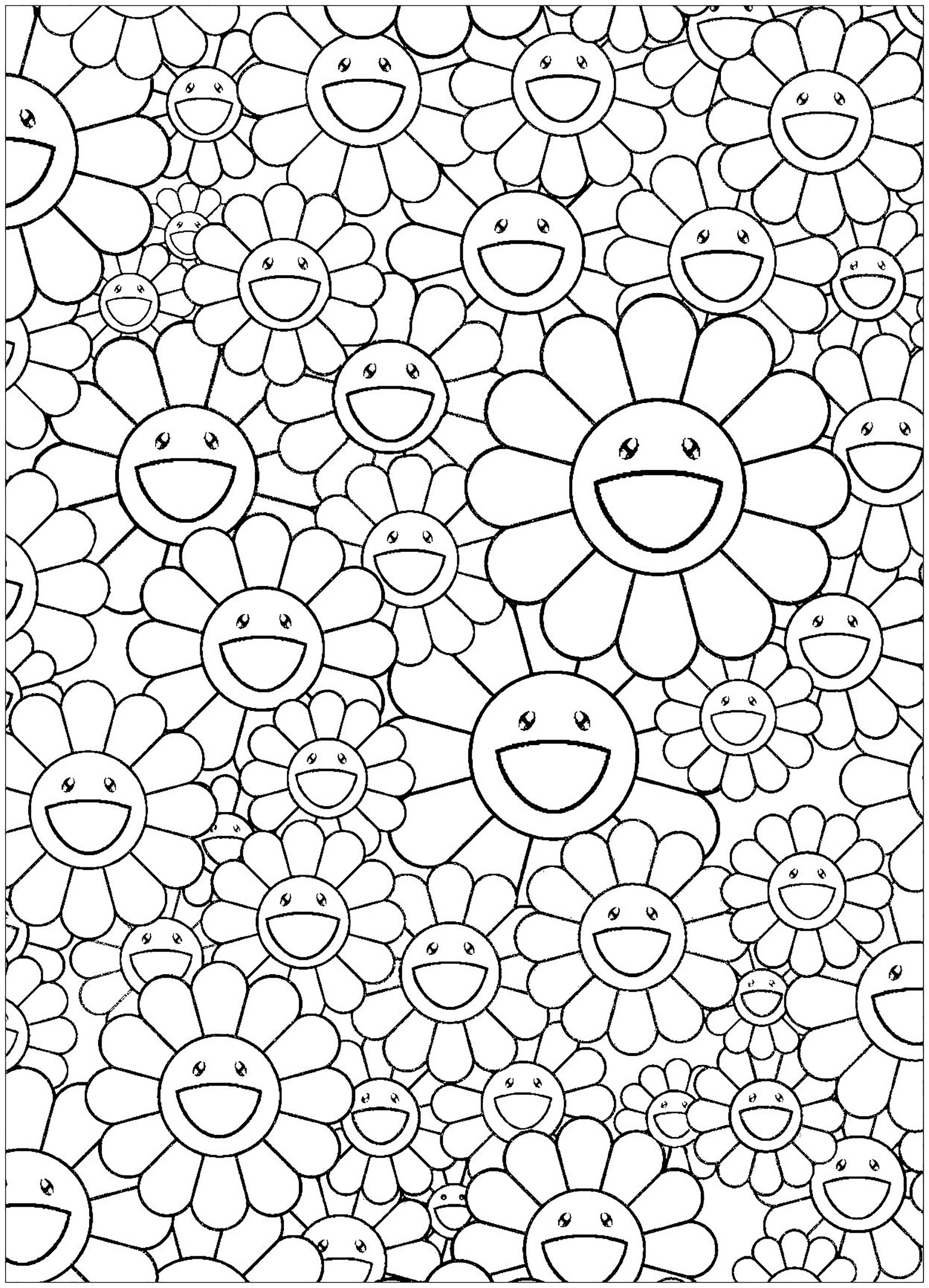 Coloring page inspired by a work by Japanese artist Takashi Murakami (style : Superflat) - simple version. Happy flowers !