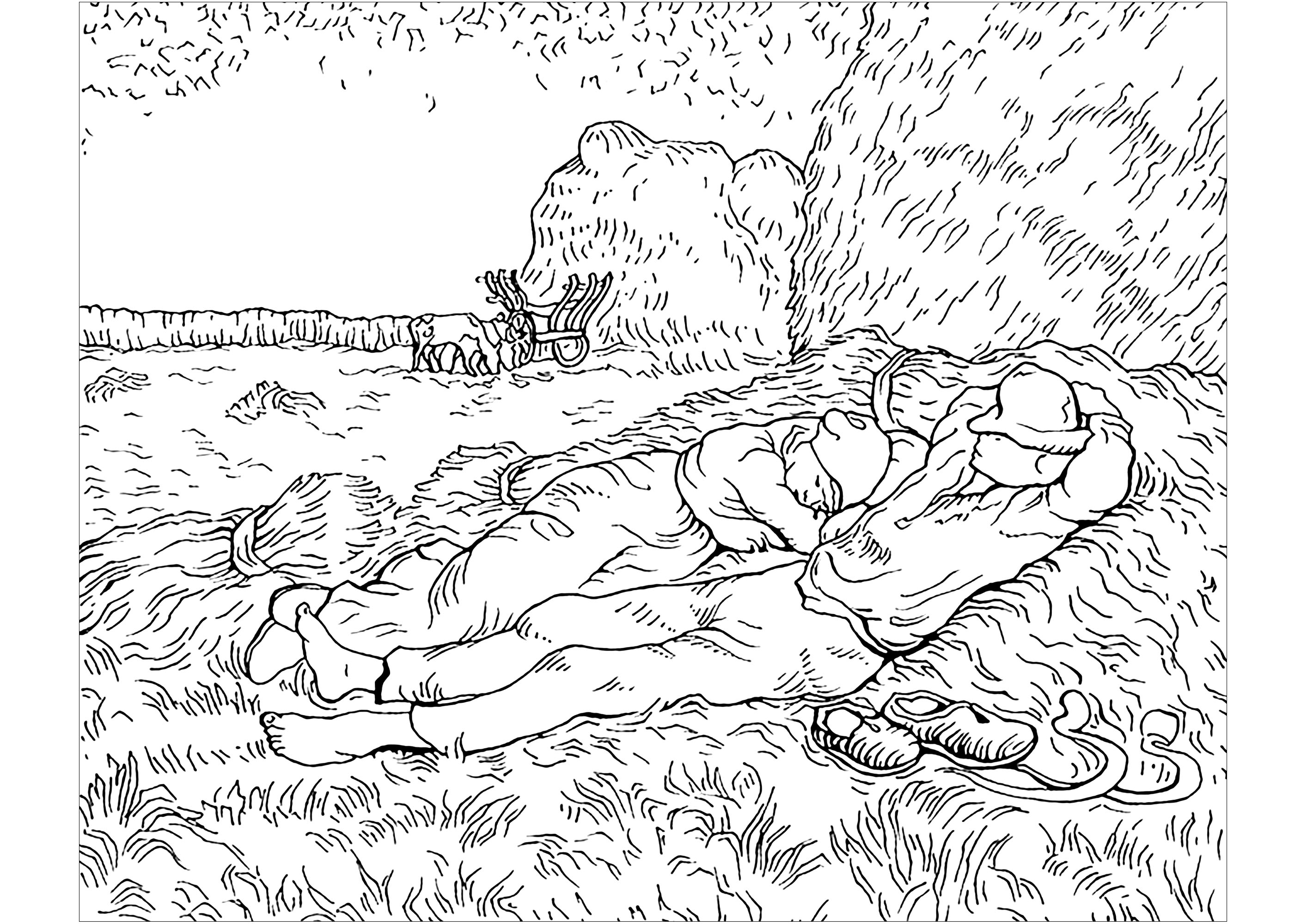 Coloring page created from a painting by Vincent Van Gogh : Noon (Rest from work)