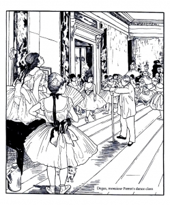 Coloring adult degas dance class