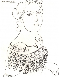 Coloring adult matisse romanian blouse drawing