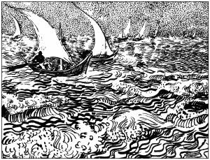 Coloring adult van gogh marine aux saintes marie de la mer 1888