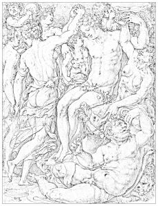 coloring drawing vasari bacchanale bacchus silene faunes and menades
