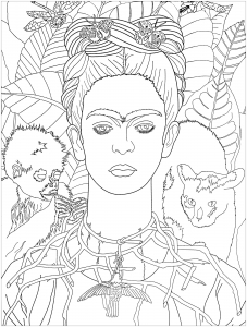 coloring frida khalo self portrait