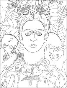 coloring frida khalo self portrait