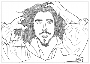 coloring page adult self portrait by valentin