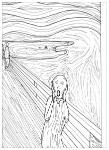 coloring page adult the scream munch pauline