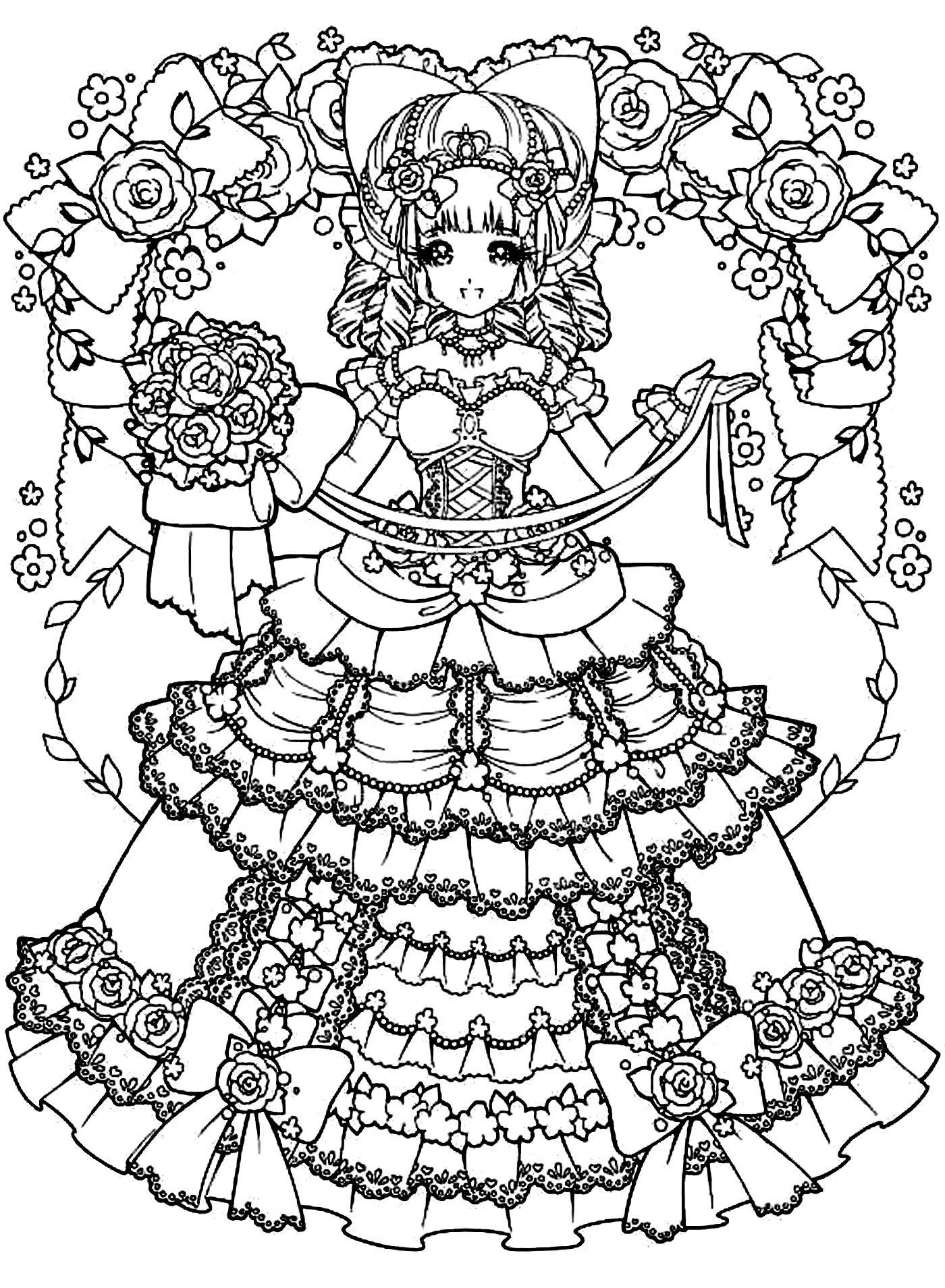 Coloring adult back to childhood manga girl dress