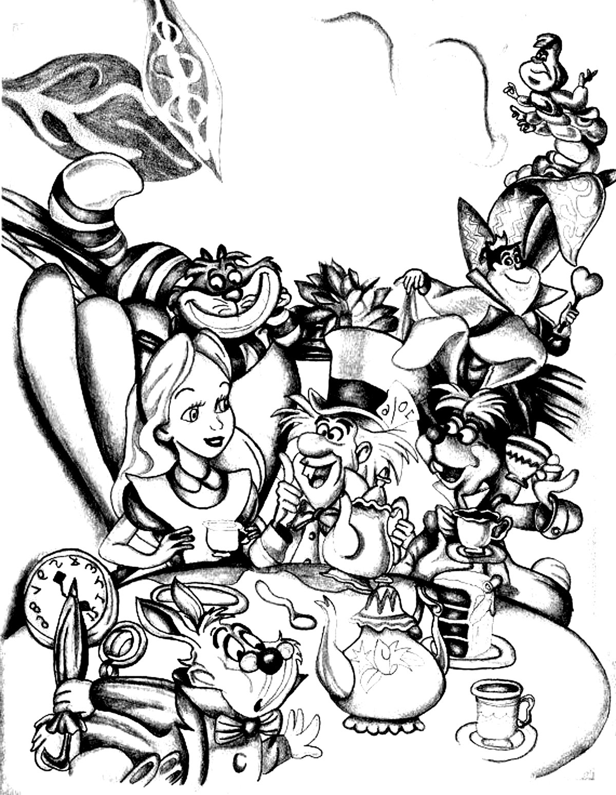 Coloring adult disney drawing alice in wonderland