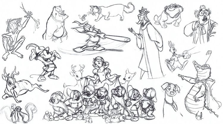 Disney sketches various characters 2 - Image with : Disney