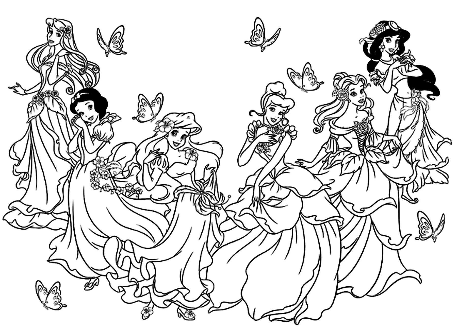 All princess coloring pages - Coloring All Princesses Disney Free To Print