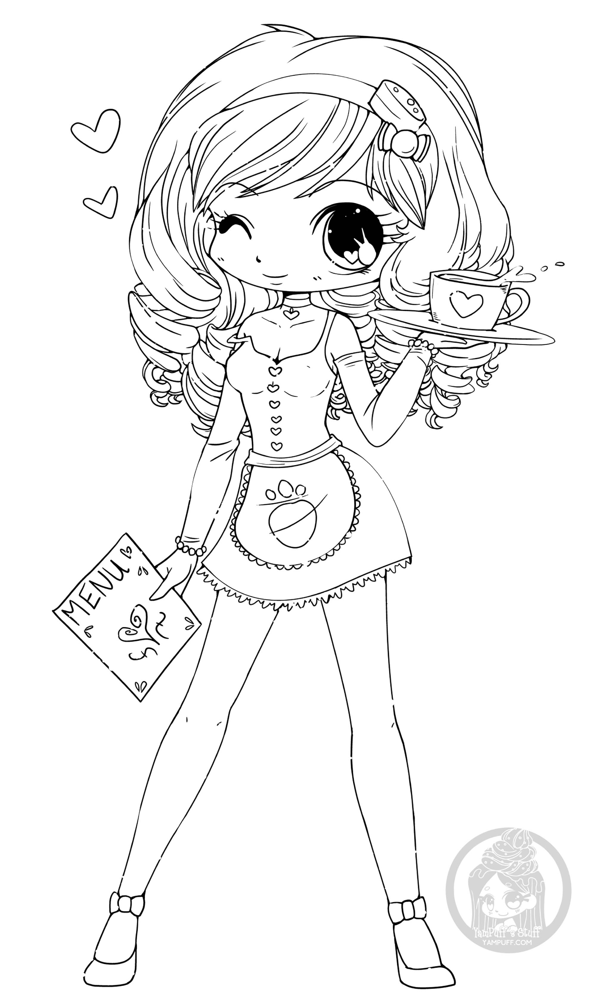 This cute girl winks you to make you want to color her!
