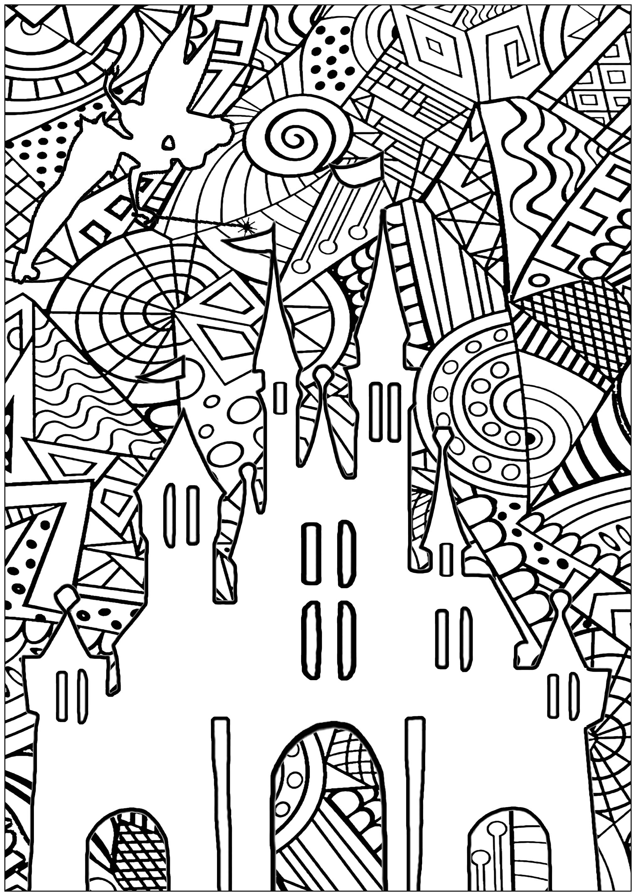 Coloring page inspired by the famous Cinderella Castle, the iconic symbol of The Walt Disney Company, and of Disney theme parks. Do you see Tinker Bell ?