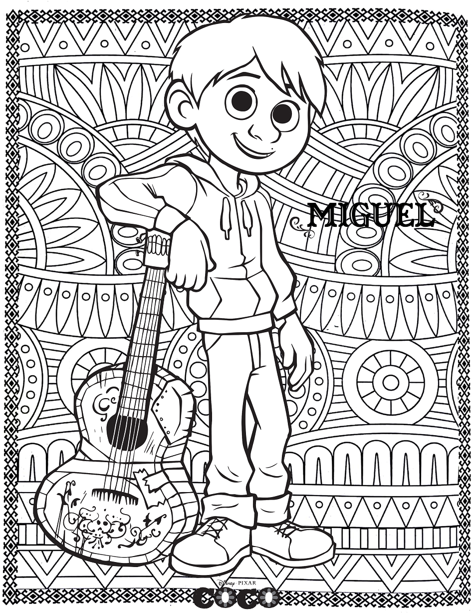 Coloring Disney Coco Miguel Formidable Pages Guitar Mama