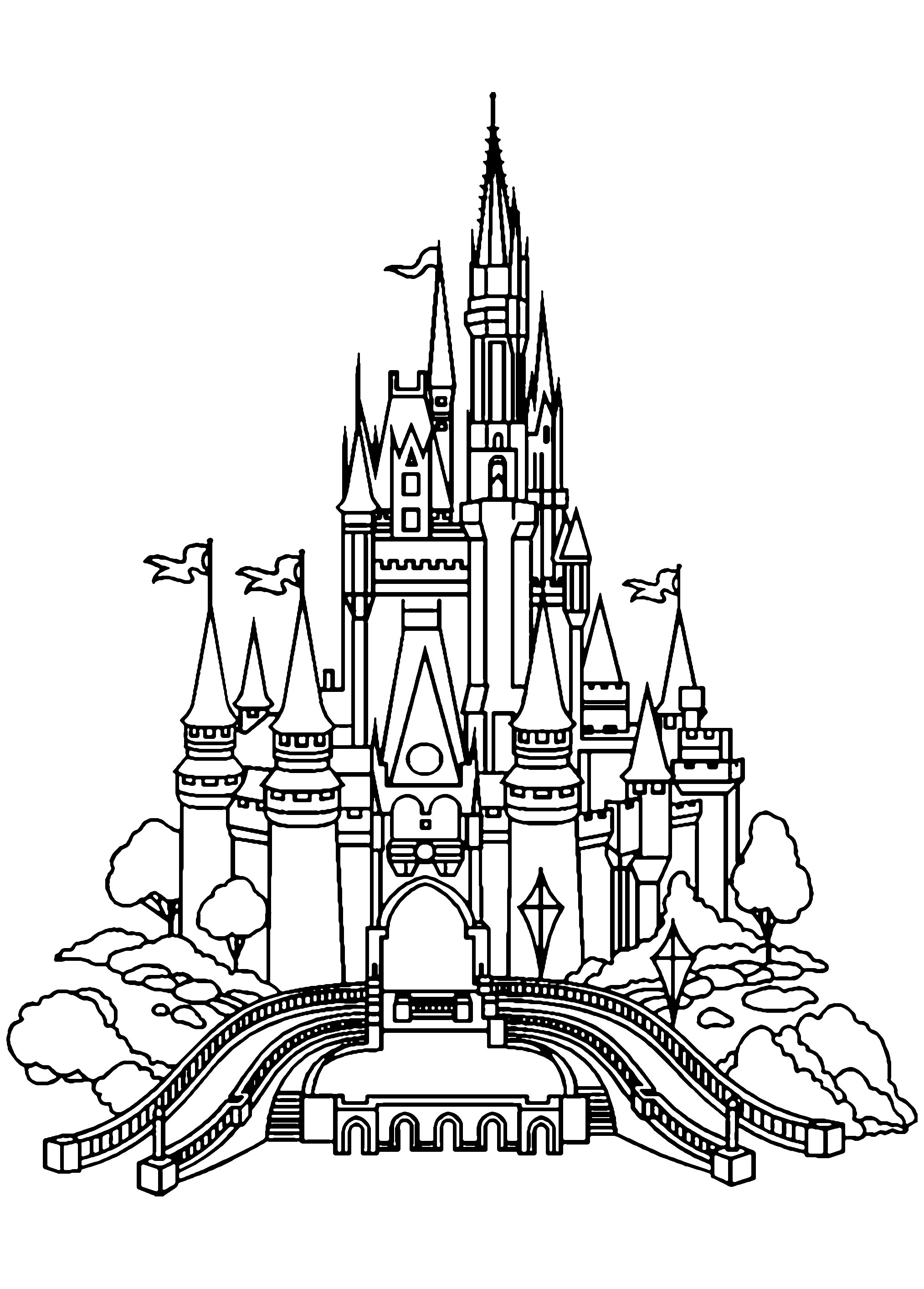 Coloring Page Of The Disneyland Castle In Vectorial Style