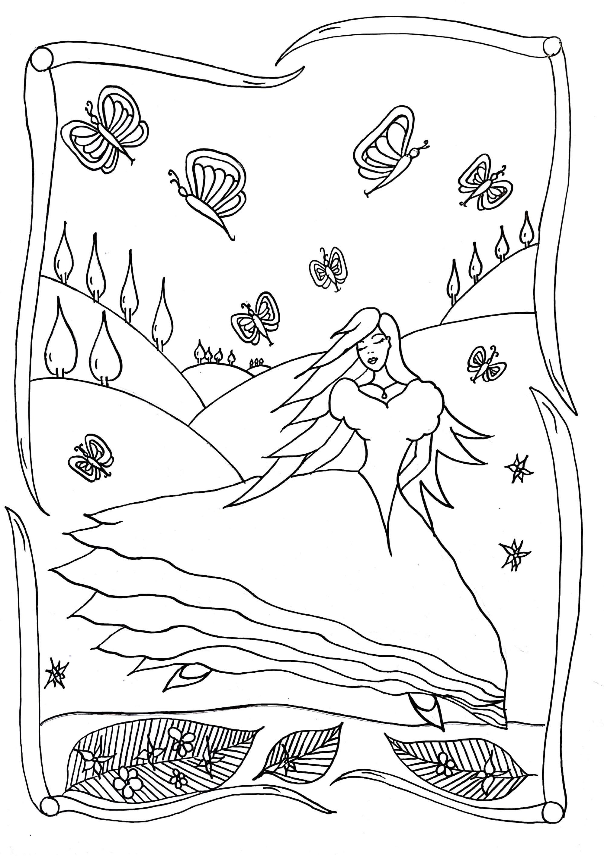 Coloring elegant princess by Leen Margot