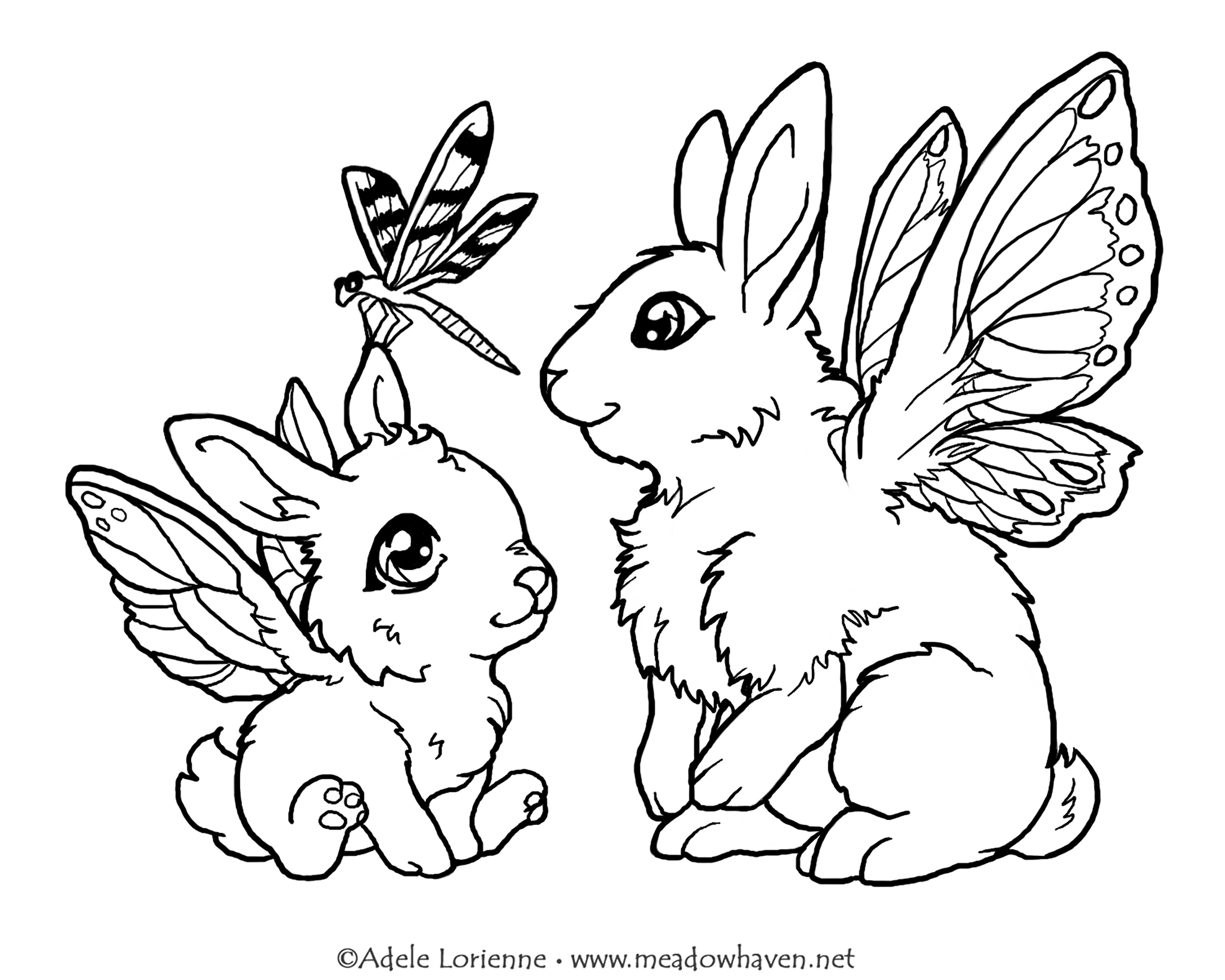Those cute bunnies will show you how to fly like a dragonfly if you color them !