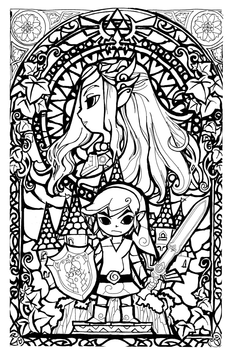 legend of zelda stainglass style return to childhood coloring