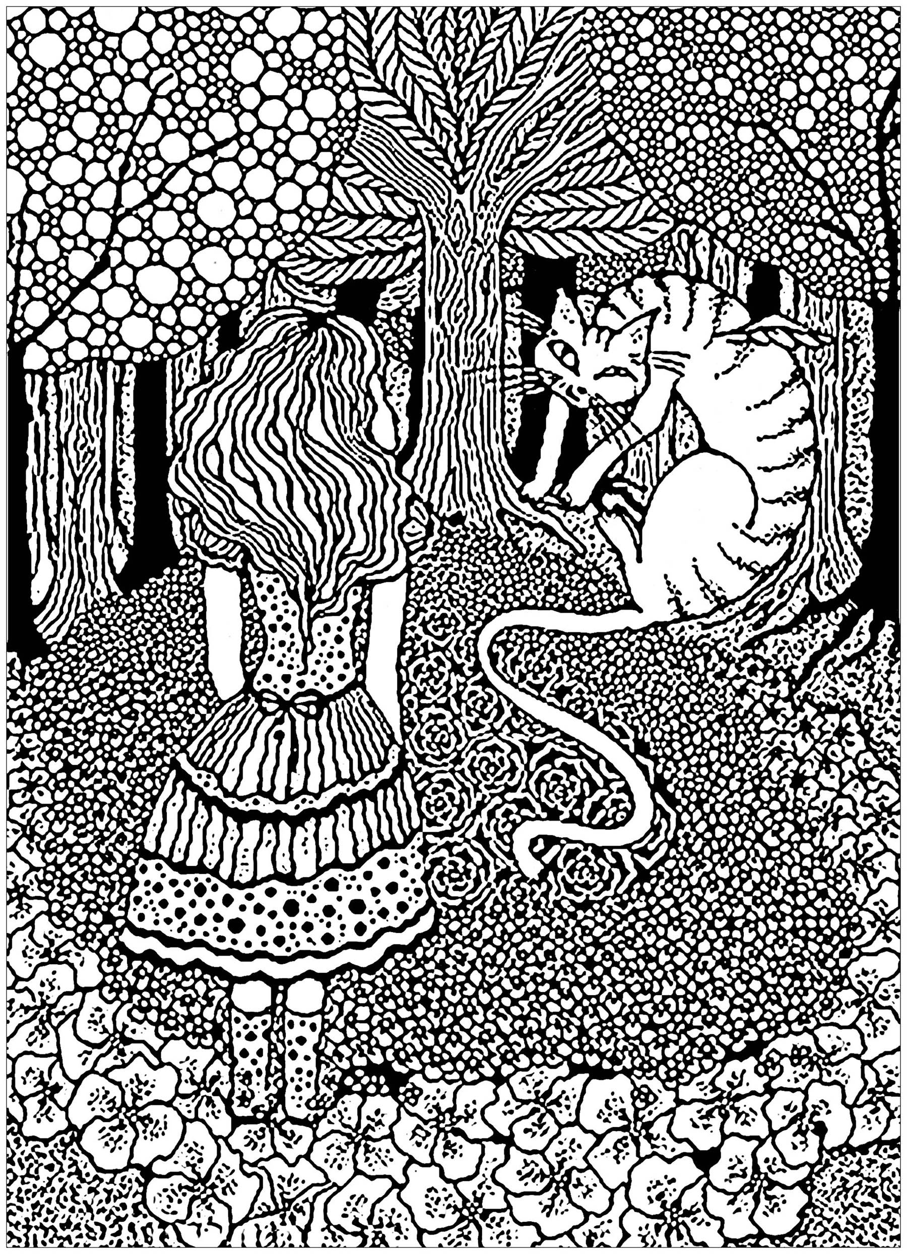 A complex coloring page with Alice in Wonderland with the Cheshire cat