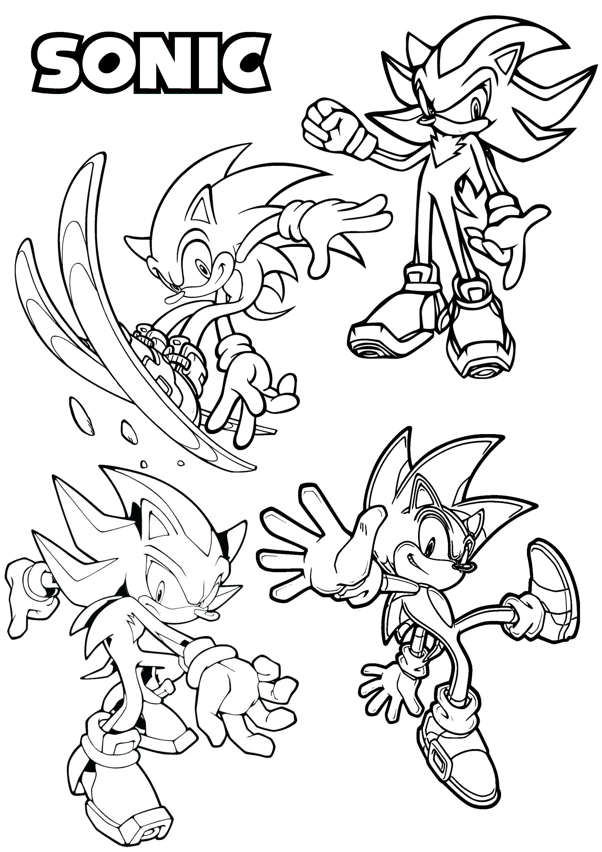 Four different versions of one of the most famous video games characters, created in the 90's : Sonic the Hedgehog