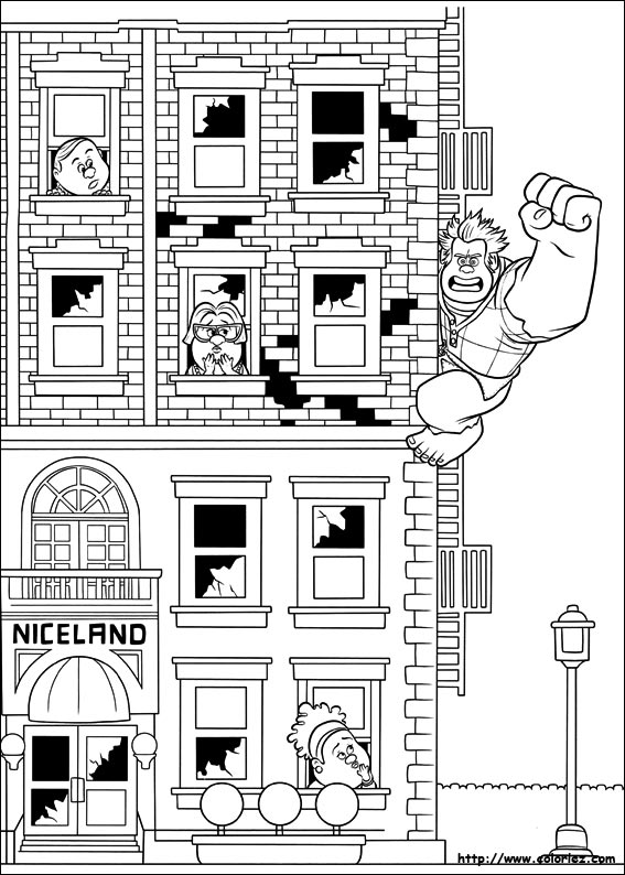 Coloring sheet based on the movie 'wreck it Ralph'