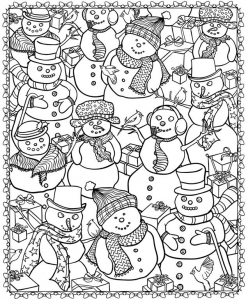 Coloring adult christmas snowman