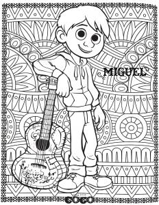 coloring disney coco miguel