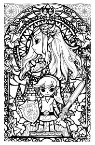coloring-legend-of-zelda-stainglass-style
