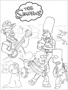 coloring-page-the-simpsons-at-the-farm-by-romain free to print