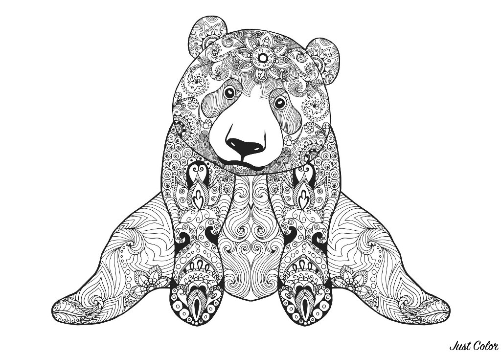 Sitting bear Bears Adult Coloring