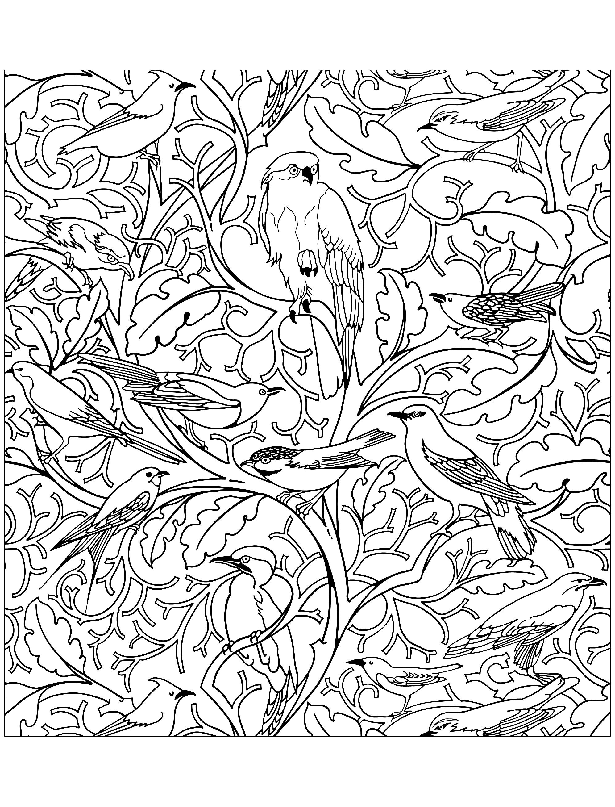 Coloring page inspired by a textile design (also used as wallpaper) : Pop Mob Scene by CFA Voysey (England, 1929)