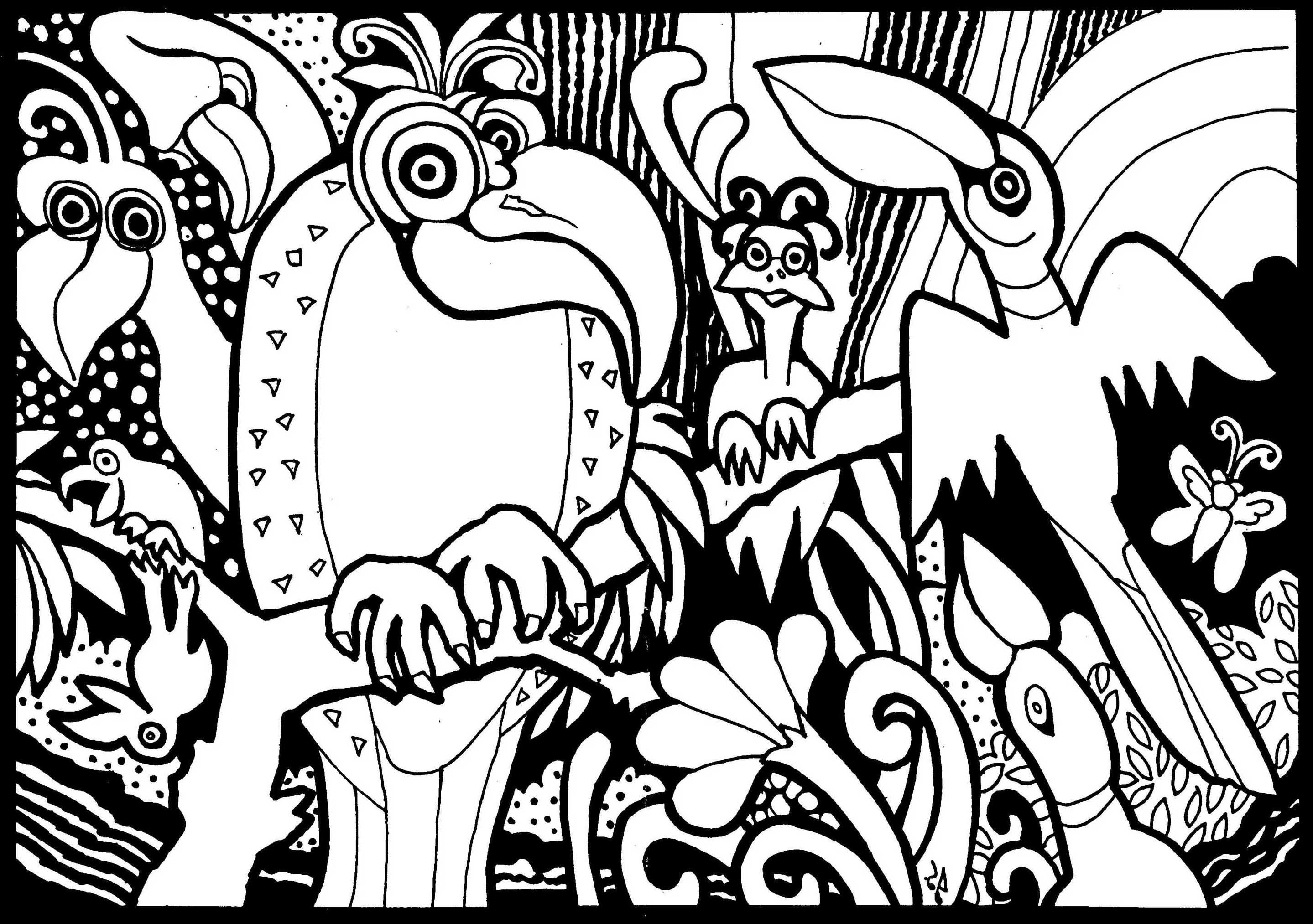 Parrots and birds - Birds Adult Coloring Pages
