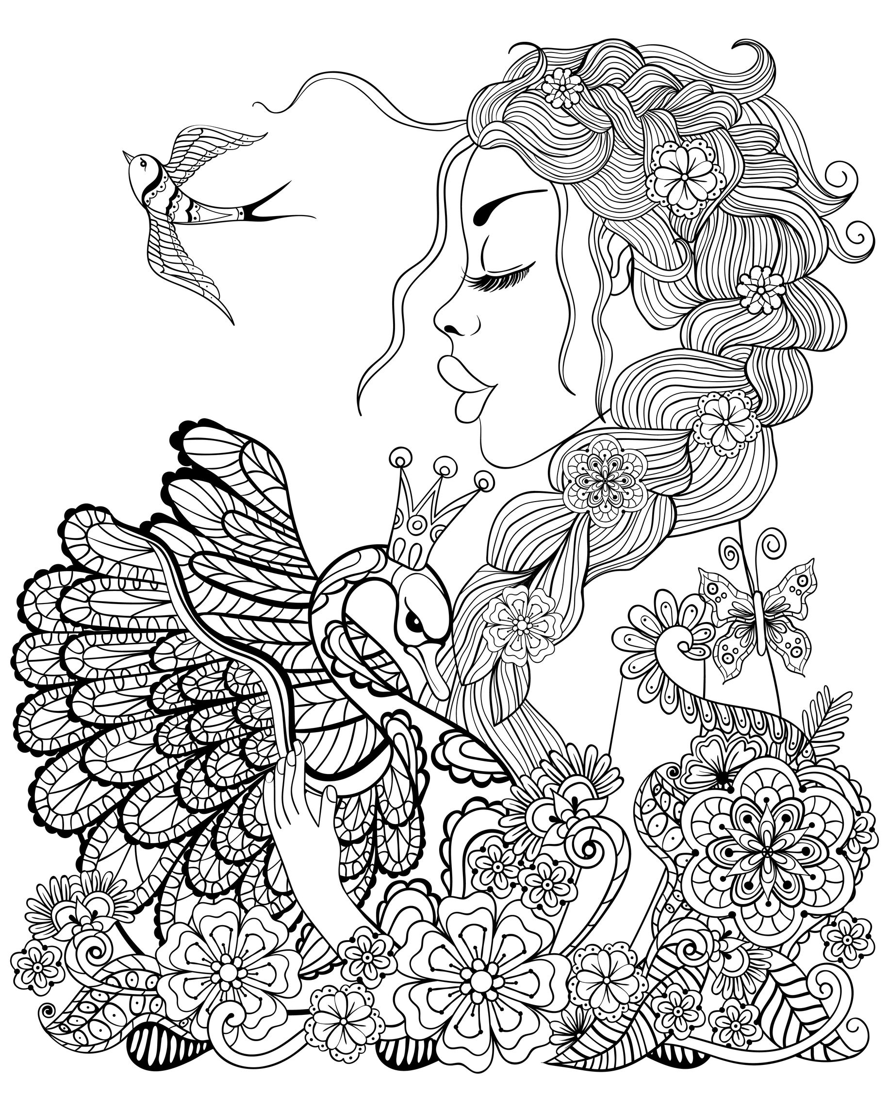 forest fairy with wreath on head hugging swan with flowers and leaves