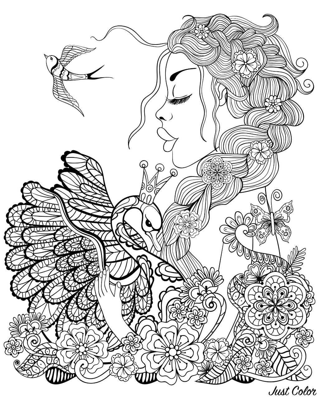 Forest fairy with wreath on head hugging swan, with flowers and leaves