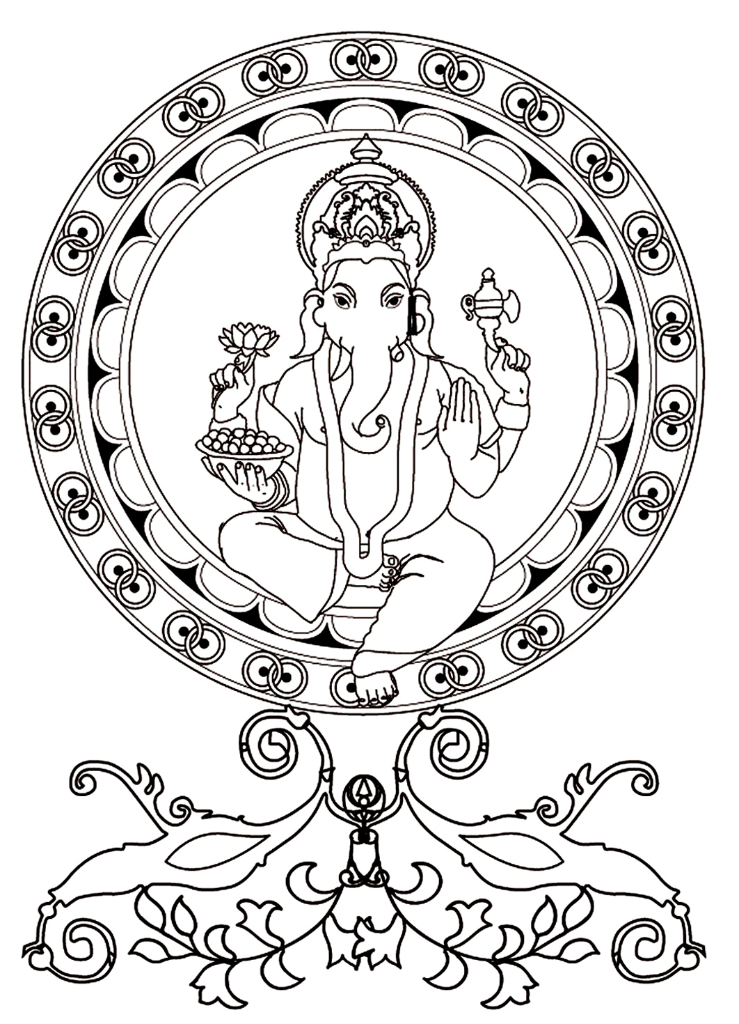 ganesh coloring pages Ganesh the god of wisdom   India Adult Coloring Pages ganesh coloring pages
