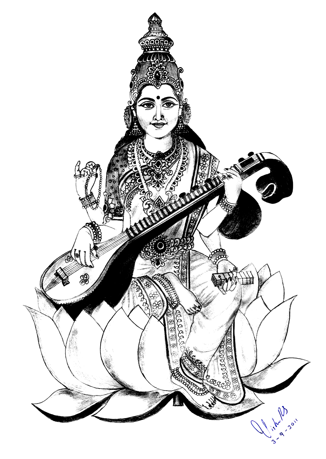 Saraswati Coloring Pages