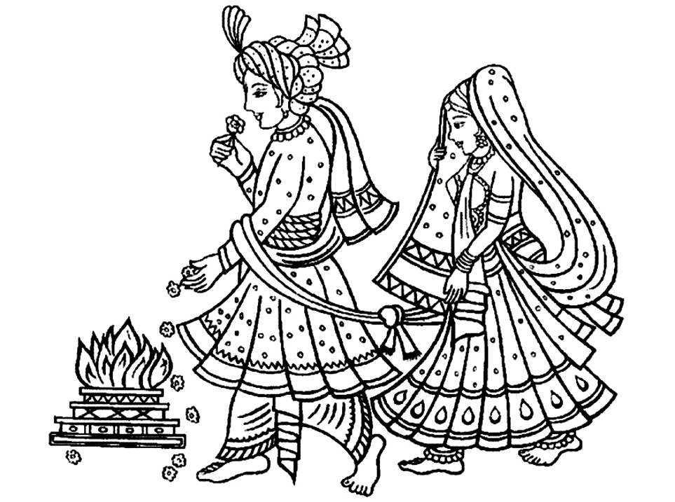 Indian traditional wedding india adult coloring pages in traditional indian weddings the bride and groom walk around the fire seven times and altavistaventures