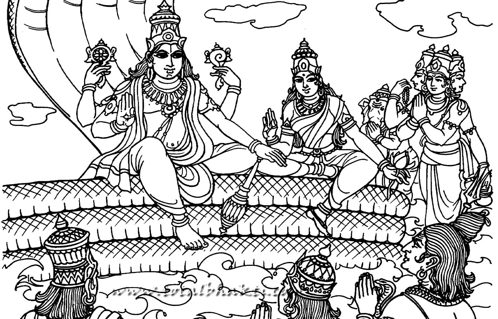 Vishnu the preserver India Adult Coloring Pages
