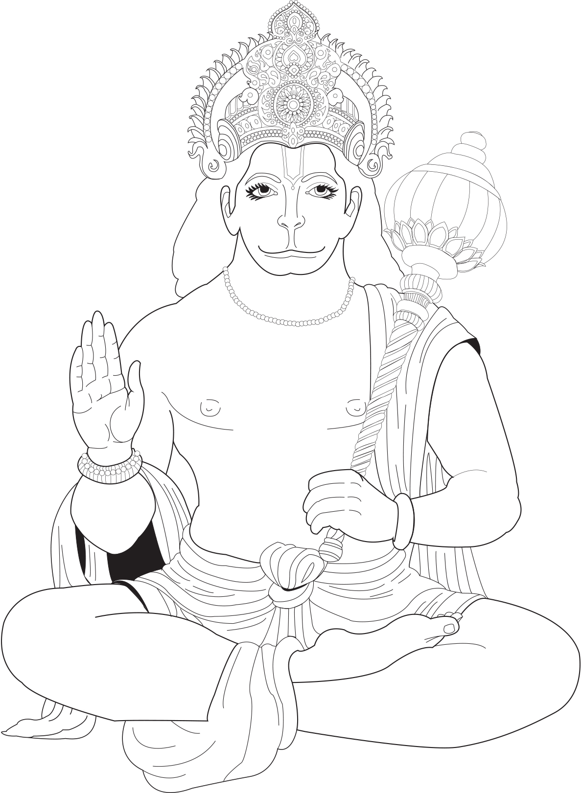 Hanuman India Adult Coloring Pages Page 2